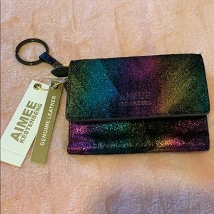 Aimee Rainbow Shimmer Wallet Keychains Purse